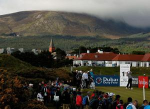 Ireland's Padraig Harrington watches his tee shot on the 11th during day two of the Dubai Duty Free Irish Open at Royal County Down Golf Club, Newcastle. PRESS ASSOCIATION Photo. Picture date: Friday May 29, 2015. See PA story GOLF Irish. Photo credit should read: Brian Lawless/PA Wire. RESTRICTIONS: Editorial use only. No commercial use. No false commercial association. No video emulation. No manipulation of images.