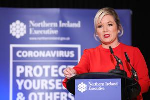 Deputy First Minister Michelle O'Neill during the daily media broadcast in the Long Gallery at Parliament Buildings, Stormont on Thursday. Photo by Kelvin Boyes / Press Eye.