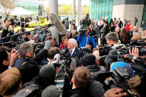 WARRINGTON, ENGLAND - APRIL 26:  Trevor Hicks, who lost his two daughters at Hillsborough speaks to the media as he departs Birchwood Park after hearing the conclusions of the Hillsborough inquest on April 26, 2016 in Warrington, England. The fresh inquests into the 1989 Hillsborough disaster, in which 96 football supporters were crushed to death, concluded on April 26, 2016 with a verdict of unlawful killing, after the initial verdicts were quashed. Relatives of Liverpool supporters who died in Britain's worst sporting disaster gathered in the purpose-built court to hear the jury's verdict in Warrington after a 25 year fight to overturn the accidental death verdicts handed down at the initial 1991 inquiry.  (Photo by Christopher Furlong/Getty Images)