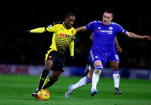 WATFORD, ENGLAND - FEBRUARY 03:  Odion Ighalo of Watford is challenged by John Terry of Chelsea during the Barclays Premier League match between Watford and Chelsea at Vicarage Road on February 3, 2016 in Watford, England.  (Photo by Clive Mason/Getty Images)
