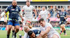 Too late: Clermont's George Moala scores a try despite the efforts of David Shanahan and Jacob Stockdale