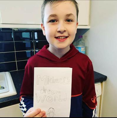"""Michael aged 10 who """"didn't want to dress up so made his own book about himself and went to school in his own clothes""""."""