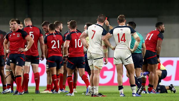 John Quill gets his marching orders following his illegal challenge on Owen Farrell (David Davies/PA)