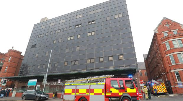 Firefighters battle a blaze in the Mater Hospital on April 16th 2019 (Photo by Kevin Scott / Belfast Telegraph)