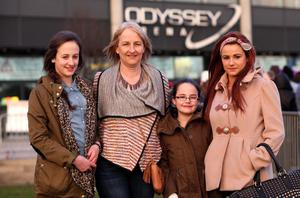 13.03.13. PICTURE BY DAVID FITZGERALD Girls Aloud Fans outside the Odyssey Arena, Belfast yesterday before the concert. (Julie Stevenson with her daughters (L-R) Sophie (13), Lucy (10) and Karissa (19)