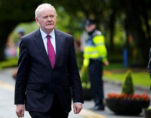 Northern Ireland's Deputy First Minister, Martin McGuinness, arrives at the National University of Ireland on May 19, 2015 in Galway, Ireland. The Prince of Wales and Duchess of Cornwall arrived in Ireland today for their four day visit to the Republic and Northern Ireland, the visit has been described by the British Embassy as another important step in promoting peace and reconciliation. (Photo by Darren Staples - WPA Pool/Getty Images)