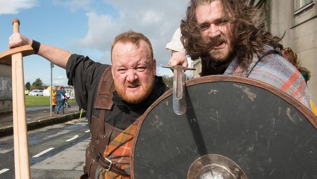 Celtic warriors from Footsteps who took part in the St. Patrick's Day Spring Carnival parade in Strabane. Picture Martin McKeown. Inpresspics.com. 17.03.19