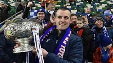 Coleraine Manager Oran Kearney  celebrates winning  the final at The National Football Stadium at Windsor Park in Belfast on Saturday. Photo Colm Lenaghan/Pacemaker Press