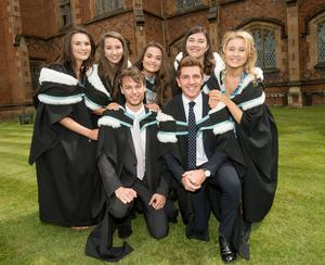 Niamh Laverty, Chloe Simpson, Emily Hamilton, Sian Doherty, Olivia McAleenan, Mark Doherty and Oisin McEvoy are all celebrating success at Queens University Belfast after graduating with a degree in English and Drama.