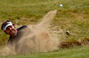 NEWCASTLE, NORTHERN IRELAND - MAY 26: Jose Manuel Lara of Spain in action during a practice round prior to The Irish Open at Royal County Down Golf Club on May 26, 2015 in Newcastle, Northern Ireland.  (Photo by Ross Kinnaird/Getty Images)