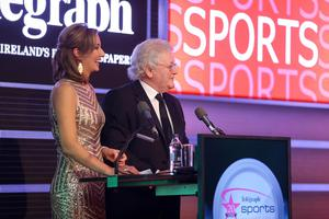 Press Eye Belfast Northern Ireland - 26th January 2014 - Picture by Kelvin Boyes / Press Eye. 2014 Belfast Telegraph Sports Awards sponsored by Linwoods at the Ramada Hotel, Belfast?  Claire McCollum and Jackie Fullerton on stage