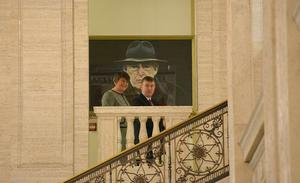 Pacemaker Press Belfast 08/01/2016:  Democratic Unionist Party (DUP) leader Arlene Foster pictured with Mervyn Storey MLA Minister for Social Development before going into the chamber were she will take over as Northern Ireland's first minister on Monday, after Peter Robinson confirms his resignation. The Fermanagh and South Tyrone MLA has already served twice as acting first minister, standing in for Mr Robinson. Picture By: Arthur Allison;Pacemaker.