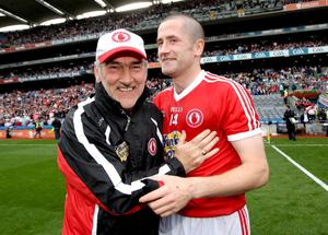 Tyrone manager Mickey Harte and Stephen O'Neill celebrate after the game