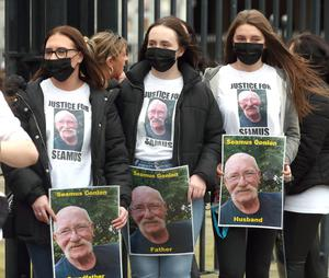 Members of Seamus Conlon's family at Belfast High Court on Tuesday. Picture by Stephen Davison/Pacemaker
