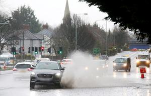 Flooding on Balmoral Avenue in south Belfast after continuous rain overnight. Picture by Jonathan Porter/PressEye