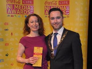 Supplement of the Year went to the Belfast Telegraph's Weekend Magazine, presented to Gail Walker by Gary McKeown CIPR