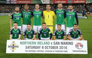 Press Eye - Belfast - Northern Ireland - 8th October 2016 -Picture by Brian Little/PressEye  Northern Ireland team        The National Football Stadium at Windsor Park Opening Game and Ceremony before Northern Ireland vs San Marino 2018 FIFA World Cup Qualifier Photo by Brian Little/ Press Eye