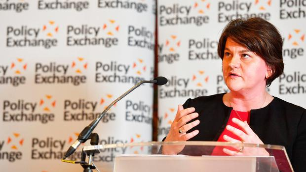 Arlene Foster speaks at a Policy Exchange conference titled The Union and Unionism. Photo credit: John Stillwell/PA Wire
