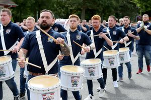 Twelfth of July celebrations in Portadown today as 6 local bands paraded through streets and estates in a socially distanced manner. Credit: Pacemaker