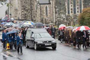 Family and friends at the funeral of Hannah Molloy