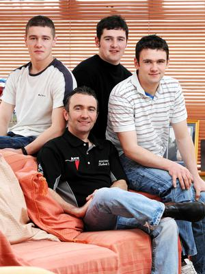 PACEMAKER, BELFAST, 2008:  Robert Dunlop and his three sons Daniel, Michael and William. PICTURE BY STEPHEN DAVISON