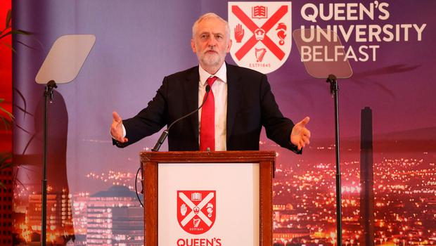 Labour leader Jeremy Corbyn delivers a public lecture in the Great Hall at Queen's University Belfast. Pic: Liam McBurney/PA Wire