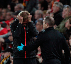 Liverpool manager Jurgen Klopp (left) shows his frustration during the Premier League match at Anfield, Liverpool. PA