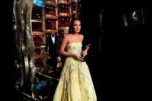 HOLLYWOOD, CA - FEBRUARY 28:  Actress Alicia Vikander, winner of Best Supporting Actress award for 'The Danish Girl,' walks offstage at the 88th Annual Academy Awards at Hollywood & Highland Center on February 27, 2016 in Hollywood, California.  (Photo by Christopher Polk/Getty Images)