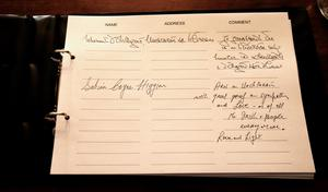Messages written by President Michael D Higgins and his wife Sabina in a book of condolence opened at Mansion House in Dublin for those killed in the Berkeley balcony collapse. PRESS ASSOCIATION Photo. Picture date: Thursday June 18, 2015. See PA story IRISH Balcony. Photo credit should read: Niall Carson/PA Wire