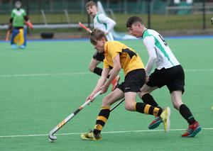 RBAI's Josh, Cree, left, in action against Sullivan Upper's Djay Erskine during their Burney Cup Semi-Final at Instonians Hockey Club.  Photo by Peter Morrison