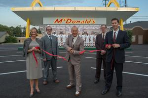 Star turn: Keaton in a scene from The Founder
