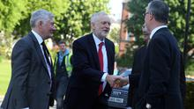 Labour Leader Jeremy Corbyn arrives at Queens University in Belfast this morning / Credit: Pacemaker