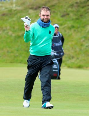 NEWCASTLE, NORTHERN IRELAND - MAY 29:  Andy Sullivan of England celebrates an albatross on the 1st hole during the Second Round of the Dubai Duty Free Irish Open Hosted by the Rory Foundation at Royal County Down Golf Club on May 29, 2015 in Newcastle, Northern Ireland.  (Photo by Andrew Redington/Getty Images)