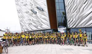 The largest cycling club Titanic CC  The Gran Fondo Giro d'Italia as it takes off from the Titanic Building and passes through the streets and roads of Northern Ireland on June 05 2016 in Belfast , Northern Ireland ( Photo by Kevin Scott / Presseye)