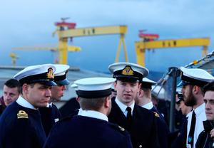 Crew members aboard HMS Duncan, as four Nato warships have docked in Belfast after monitoring a Russian aircraft carrier through the North Sea and on to the Mediterranean. PRESS ASSOCIATION Photo. Picture date: Friday November 4, 2016. See PA story ULSTER Ships. Photo credit should read: Brian Lawless/PA Wire