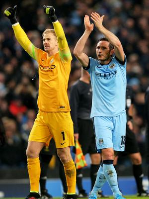 Take a bow: Manchester City goalkeeper Joe Hart and veteran midfielder Frank Lampard salute the fans at the final whistle