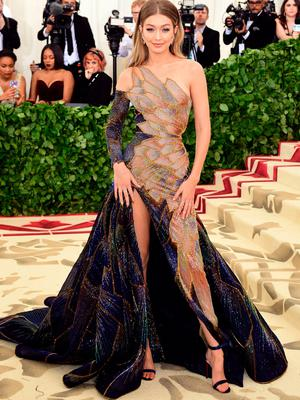 Gigi Hadid attending the Metropolitan Museum of Art Costume Institute Benefit Gala 2018 in New York, USA. PRESS ASSOCIATION Photo. Picture date: Monday May 7, 2018. See PA story SHOWBIZ MET Gala. Photo credit should read: Ian West/PA Wire