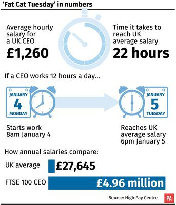 FTSE 100 chief executives were paid an average £4.96 million a year in 2014