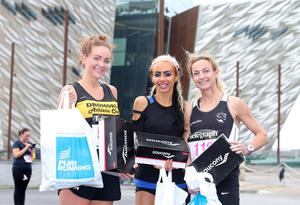 Press Eye Belfast - Northern Ireland 10th September 2017  Pure Running's and The Belfast Telegraph's RunHer Titanic 5k and 10k race in the Titanic Quarter of Belfast.   Left to right 10k winners.  Laura Bickerstaff in 2nd place, Amy Bulmer in 1st place and Roslyn Dobson in 3rd place.  Picture by Jonathan Porter/PressEye.com