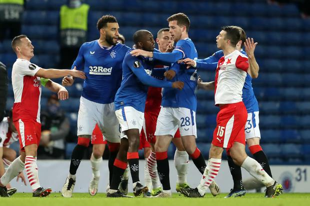 Czech Republic's Ondrej Kudela (right) is back in the UK with his national team after being accused of racially abusing Rangers midfielder Glen Kamara earlier this month (Andrew Milligan/PA)
