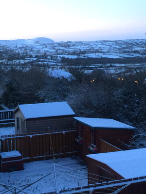 This is a view from my window in Rathfriland, the Mournes at the far back left of the picture. Submitted by Lucy Barry - January 2017