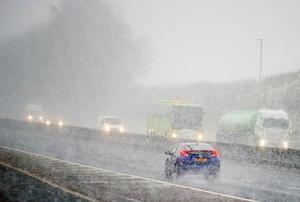 Vehicles on the M1 outside Belfast. Picture by Jonathan Porter/PressEye