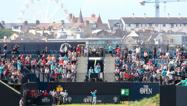 Northern Ireland's Rory McIlroy tees off the 1st during preview day three of The Open Championship 2019 at Royal Portrush Golf Club. PRESS ASSOCIATION Photo. Picture date: Tuesday July 16, 2019. See PA story GOLF Open. Photo credit should read: Niall Carson/PA Wire. RESTRICTIONS: Editorial use only. No commercial use. Still image use only. The Open Championship logo and clear link to The Open website (TheOpen.com) to be included on website publishing.