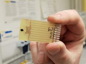 Part of a biosensor device for a new rapid test for sepsis (University of Strathclyde)