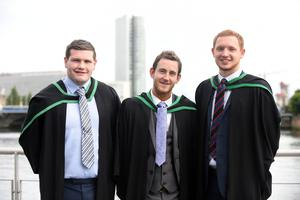Graduating from Ulster University today are Odhran Mc Ilroy, Bangor, Christopher Mc Shane Derry and Damon Hall, Lancaster. Pic by Harrison Photography