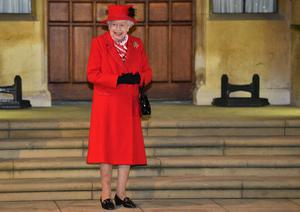 The Queen in the quadrangle at Windsor Castle (Glyn Kirk/PA)