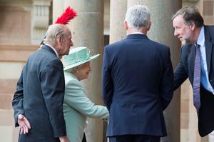 BELFAST, NORTHERN IRELAND - JUNE 27:  Queen Elizabeth II and Prince Philip, Duke of Edinburgh are greeted by Michael Day (CEO of Historic Royal Palaces) upon their arrival to Hillsborough Castle on June 27, 2016 in Belfast, Northern Ireland.  (Photo by Carrie Davenport/Getty Images)