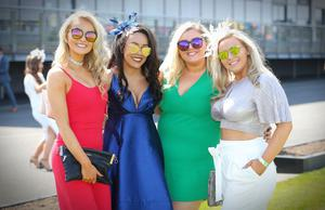 Raffy Smyth, Devany Wallace, Fodhla Gallagher and Hannah Gallagher pictured at the Daily Mirror May Day Meeting at Down Royal Racecourse