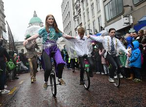 Pacemaker Press 17/3/2017 Crowds gather for the St Patrick's day Parade in Belfast City Centre on Friday. Thousands line the streets to watch the Parade from Belfast City Hall to Custom House Square. Pic Colm Lenaghan/Pacemaker