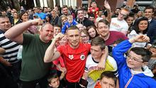 Carl  'Frampton with fans at a public training session at Victoria Square shopping complex in Belfast city centre.